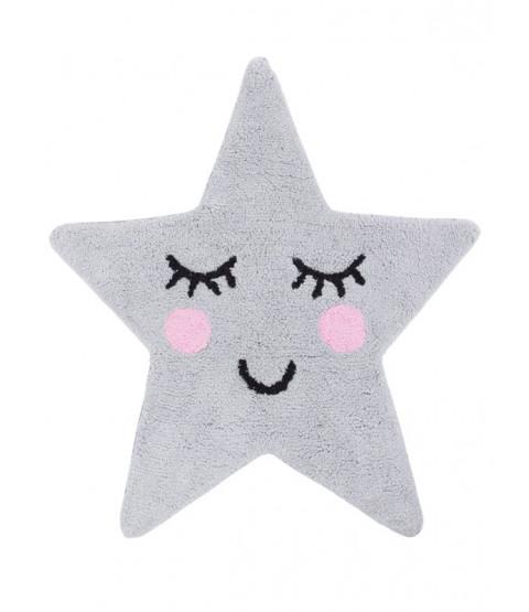 Grey Star Shaped Floor Rug Sweet Dreams
