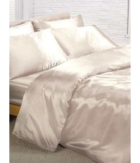 Cream Satin Double Duvet Cover, Fitted Sheet and 4 Pillowcases Bedding Set