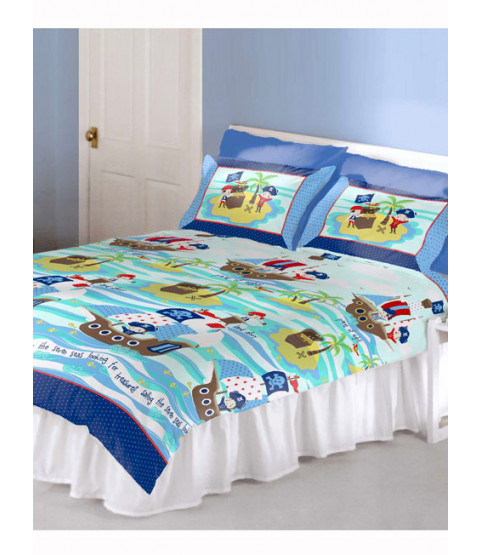 Seven Seas Pirates Double Duvet Cover and Pillowcase Set