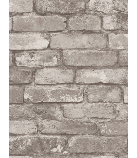 Silver Grey Brick Effect Wallpaper - Fine Decor