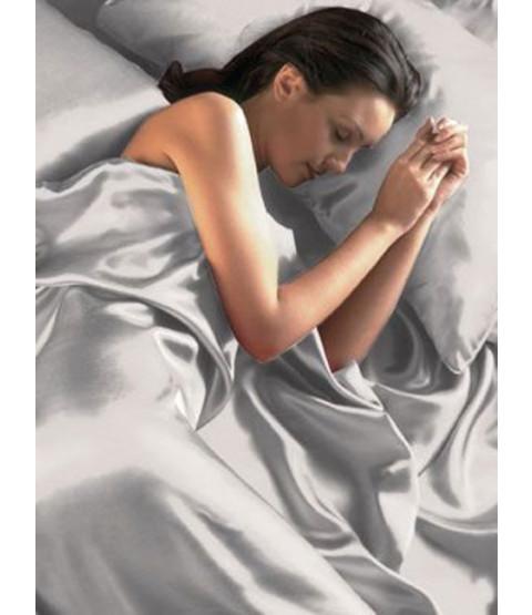 Funda nórdica satinada plateada, sábanas ajustadas y juego de cama de fundas de almohada