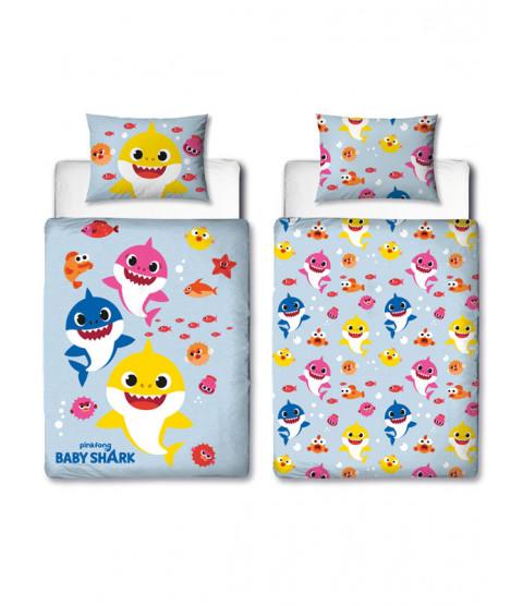 Set di bundle di biancheria da letto per bambini 4 in 1 Baby Shark Fishes (piumone, cuscino e coperte)