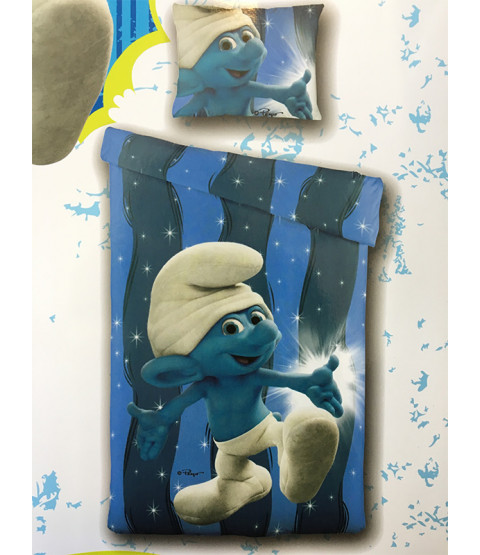 Smurfs Blue Single Duvet Cover and Pillowcase Set