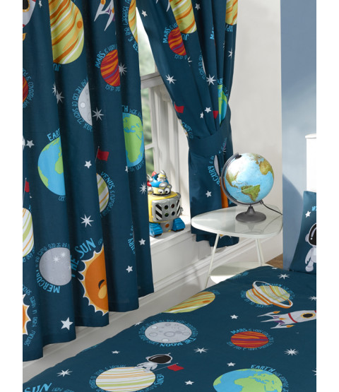 "Solar System Planets & Space Lined Curtains 72"" Drop"