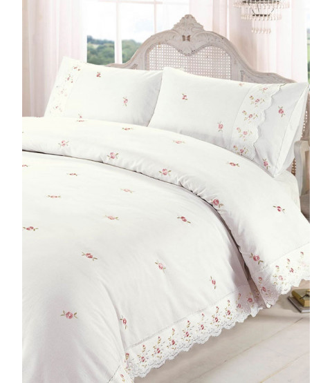 Sophie Floral Cream Single Duvet Cover and Pillowcase Set