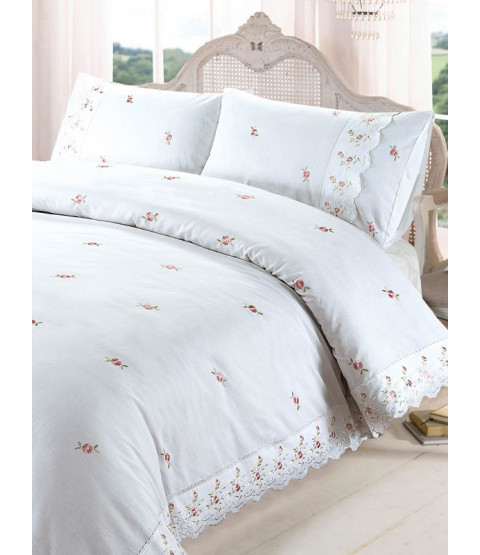 Sophie Floral White Single Duvet Cover and Pillowcase Set