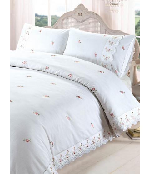 Juego de funda de almohada y funda de almohada doble blanca Sophie Floral