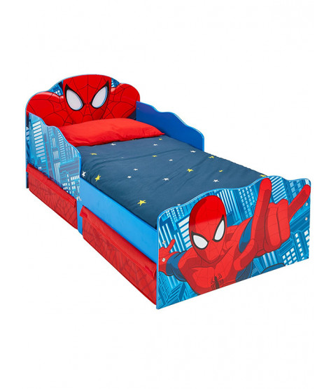 Spiderman Toddler Bed with Storage and Light Up Eyes plus Foam Mattress