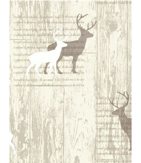 Stag Cream Cabin Wood Wallpaper - Arthouse 623001