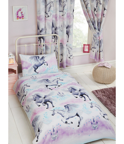 Stardust Unicorn Junior Toddler Duvet Cover & Pillowcase Set - Purple and Teal