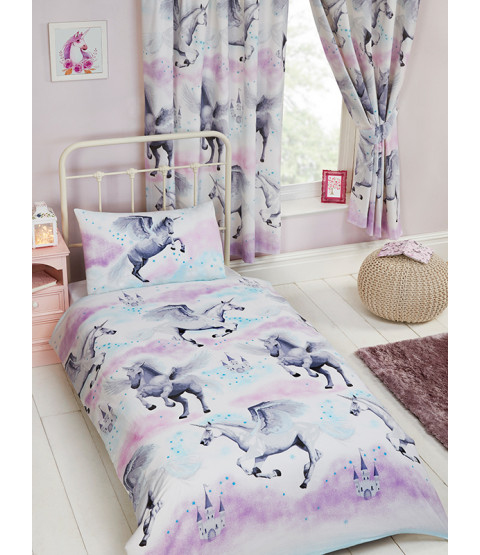 Stardust Unicorn 4 in 1 Junior Bedding Bundle Set (Duvet, Pillow and Covers) - Purple and Teal