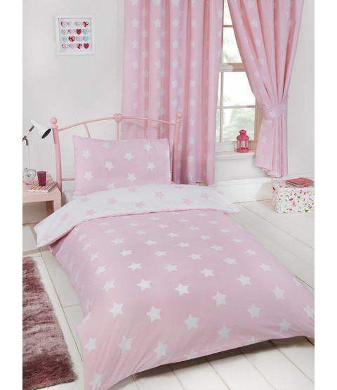 Pink and White Stars Single Duvet Cover Set Bedroom