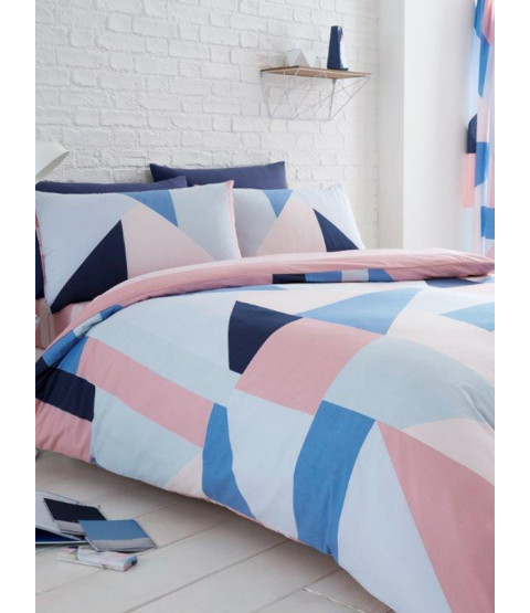 Sydney Blue and Pink Geometric King Size Duvet Cover and Pillowcase Set