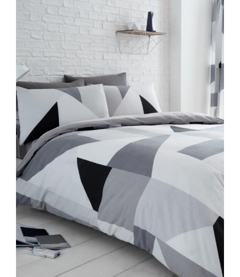 Sydney Grey Geometric Double Duvet Cover and Pillowcase Set