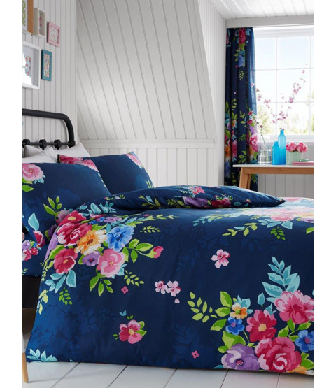 Alice Floral Double Duvet Cover and Pillowcase Set - Navy and Pink