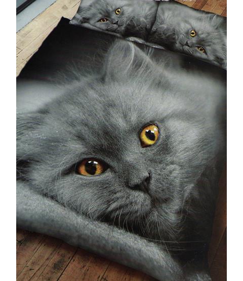 Completo copripiumino e federa con doppio gattino grigio gatto