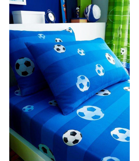 Goal Football Single Fitted Sheet and Pillowcase Set - Blue