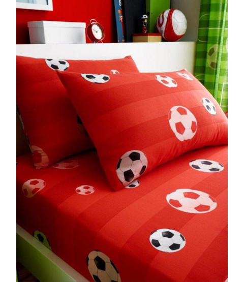 Goal Football Single Fitted Sheet and Pillowcase Set - Red