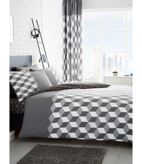 Cubix Geometric King Size Duvet Cover and Pillowcase Set - Grey