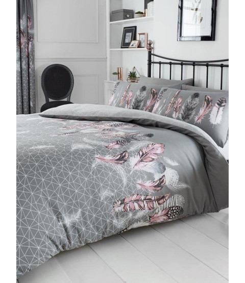 Geometric Feathers Single Duvet Cover and Pillowcase Set - Grey