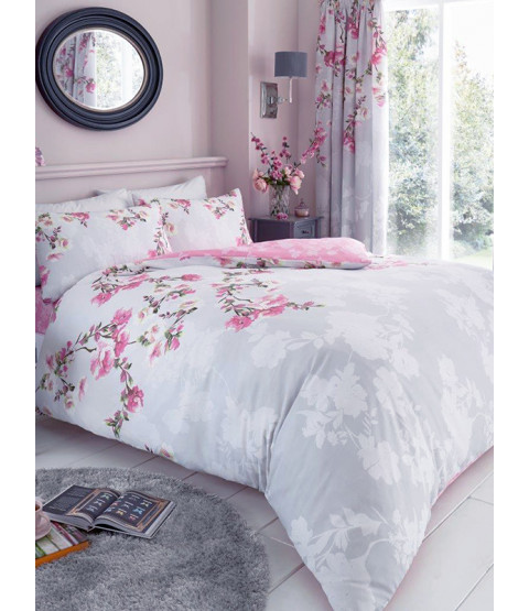 Roseanne Floral Double Duvet Cover and Pillowcase Set - Grey