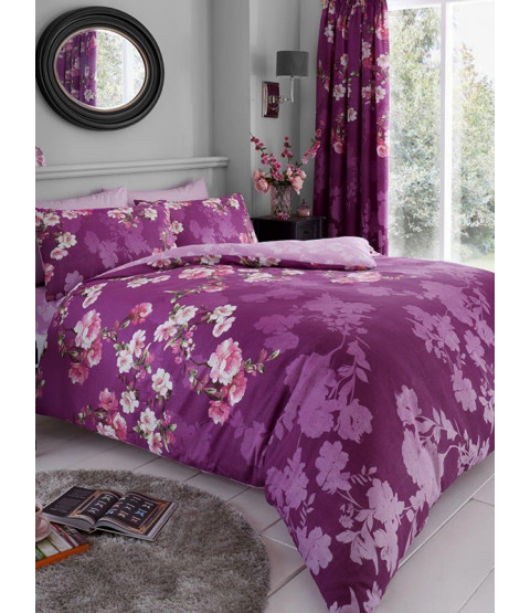 Roseanne Floral Double Duvet Cover and Pillowcase Set - Purple