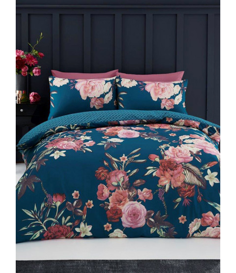 Flora Double Duvet Cover and Pillowcase Set - Teal