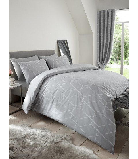 Metro Geometric Diamond Single Duvet Cover Set - Grey