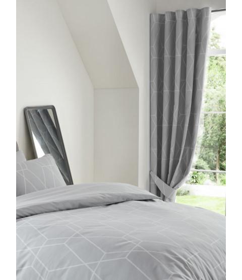 """Metro Geometric Diamond Lined Curtains 54"""" Drop - Grey"""