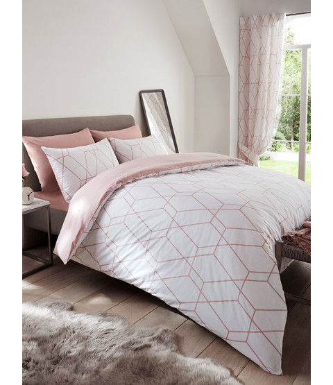 Metro Geometric Diamond Single Duvet Cover Set - Blush