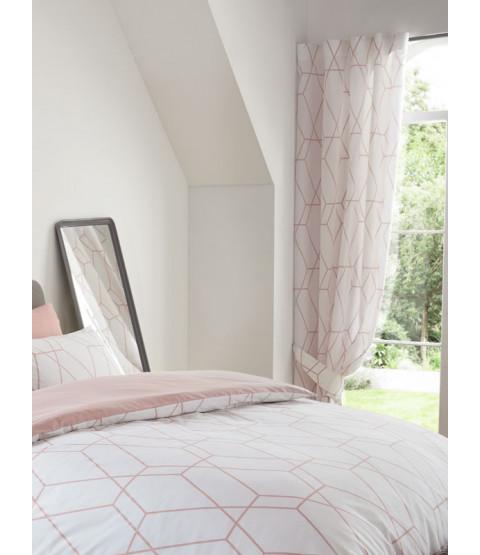 Metro Geometric Diamond Lined Curtains - Blush