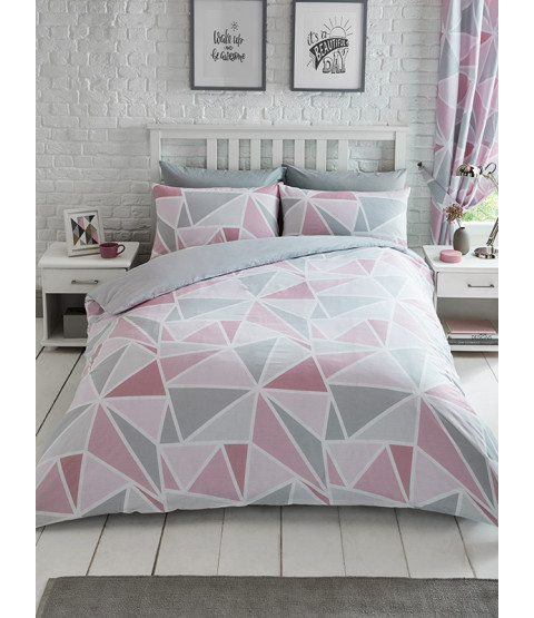 Metro Geometric Triangle Double Duvet Cover Set - Pink / Grey