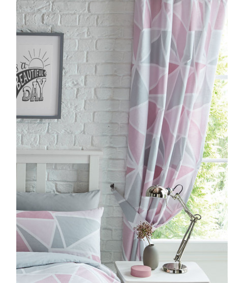 """Metro Geometric Triangle Lined Curtains - Pink / Grey 54""""  Drop"""