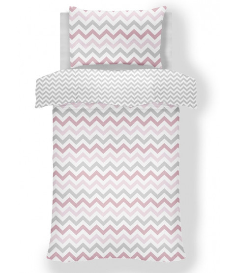 Metro Chevron Zig Zag Junior Toddler Duvet Cover Set - Pink / Grey