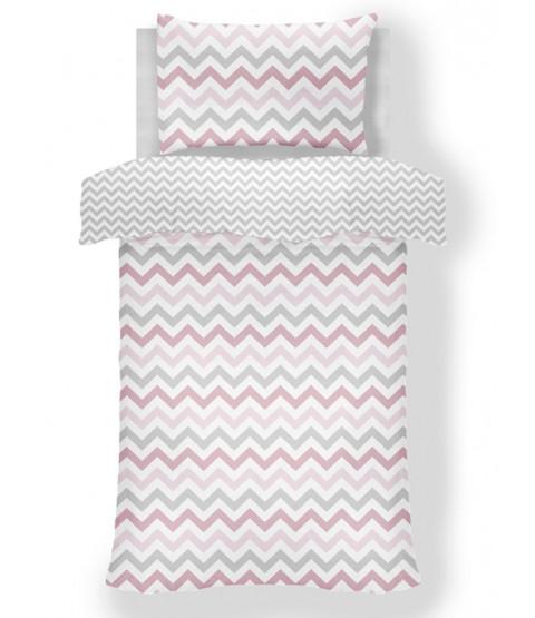 Metro Chevron Zig Zag Grey / Pink 4 in 1 Junior Bedding Bundle Set (Duvet, Pillow and Covers)
