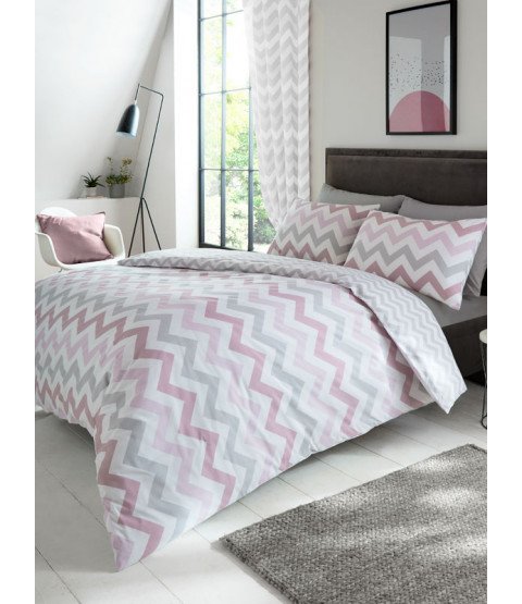 Metro Chevron Zig Zag King Size Duvet Cover Set - Pink / Grey