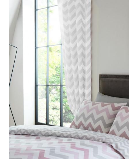 Metro Chevron Zig Zag Lined Curtains - Grey