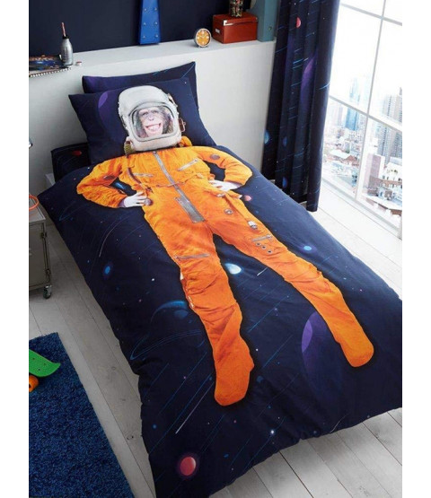 Space Chimp Single Duvet Cover and Pillowcase Set