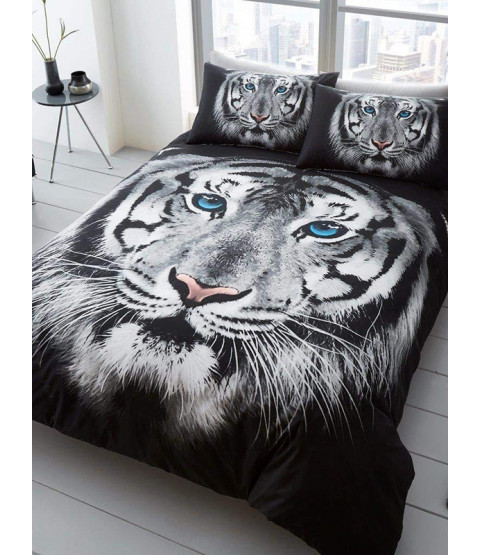White Tiger Face Single Duvet Cover and Pillowcase Set