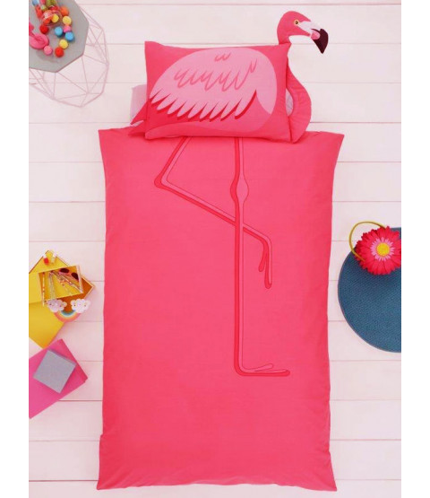 Flamingo Single Duvet Cover and Shaped Pillowcase Set