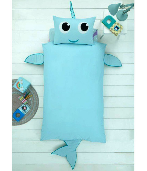 Narwhal Shaped Single Duvet Cover and Pillowcase Set