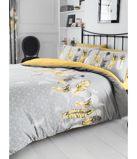 Geometric Feathers King Duvet Cover and Pillowcase Set - Yellow