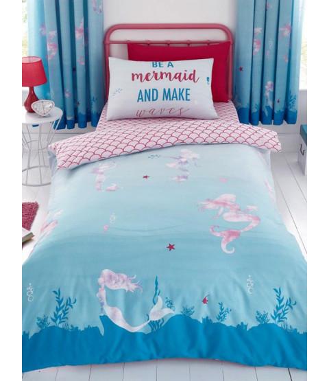 Mermaid World Single Duvet Cover and Pillowcase Set