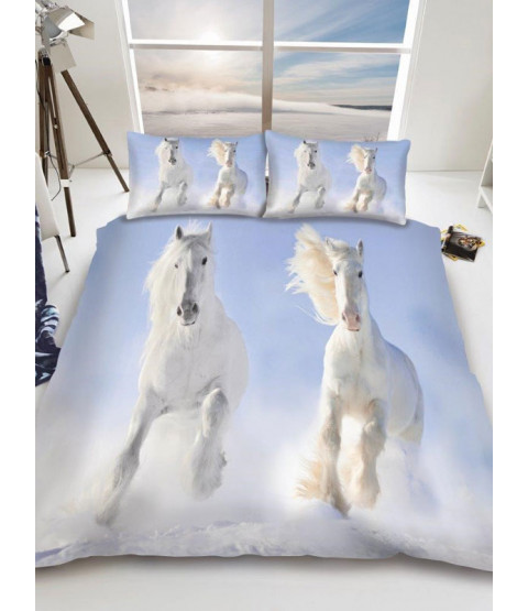 White Horses Single Duvet Cover and Pillowcase Set