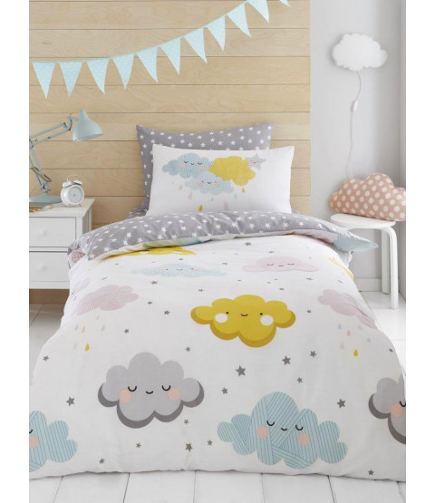 Clouds and Stars Double Duvet Cover and Pillowcase Set