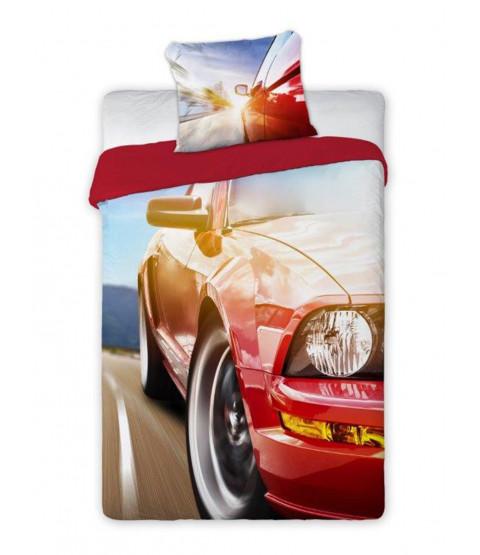 Red Car Single Duvet Cover And Pillowcase Set - European Size