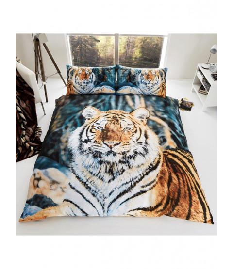Juego de funda nórdica y fundas de almohada Tiger King Size