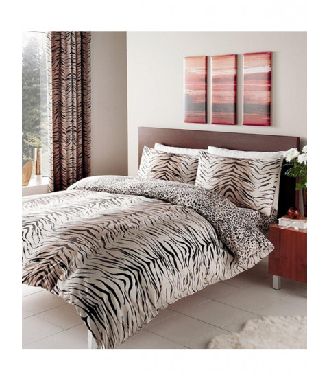 Tiger Skin Print King Reversible Duvet Cover Set