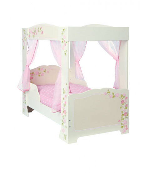 Girls Rose 4 Poster Toddler Bed and Foam Mattress