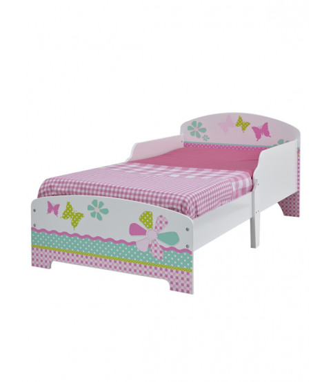 Girls Pretty n Pink Patchwork Toddler Bed plus Deluxe Foam Mattress